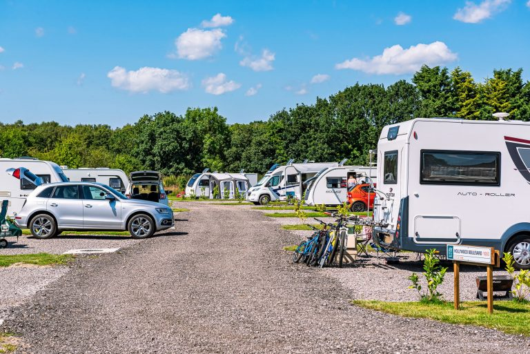 Touring caravan pitches at Flaxton Meadows